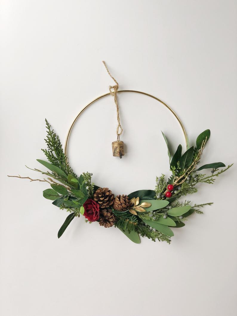 CHRISTMAS WREATH,holiday wreath modern hoop wreath