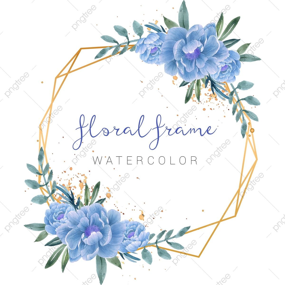 Elegant Gold Frame Watercolor Blue Flowers Illustration Watercolor Clipart Creative Wedding Png And Vector With Transparent Background For Free Download Flower Illustration Watercolor Flower Vector Flower Frame