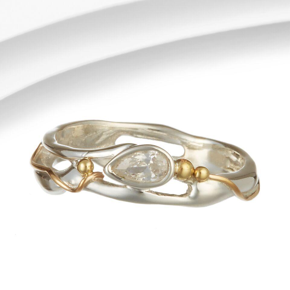Organic Silver & Gold Wire Zirconia Ring