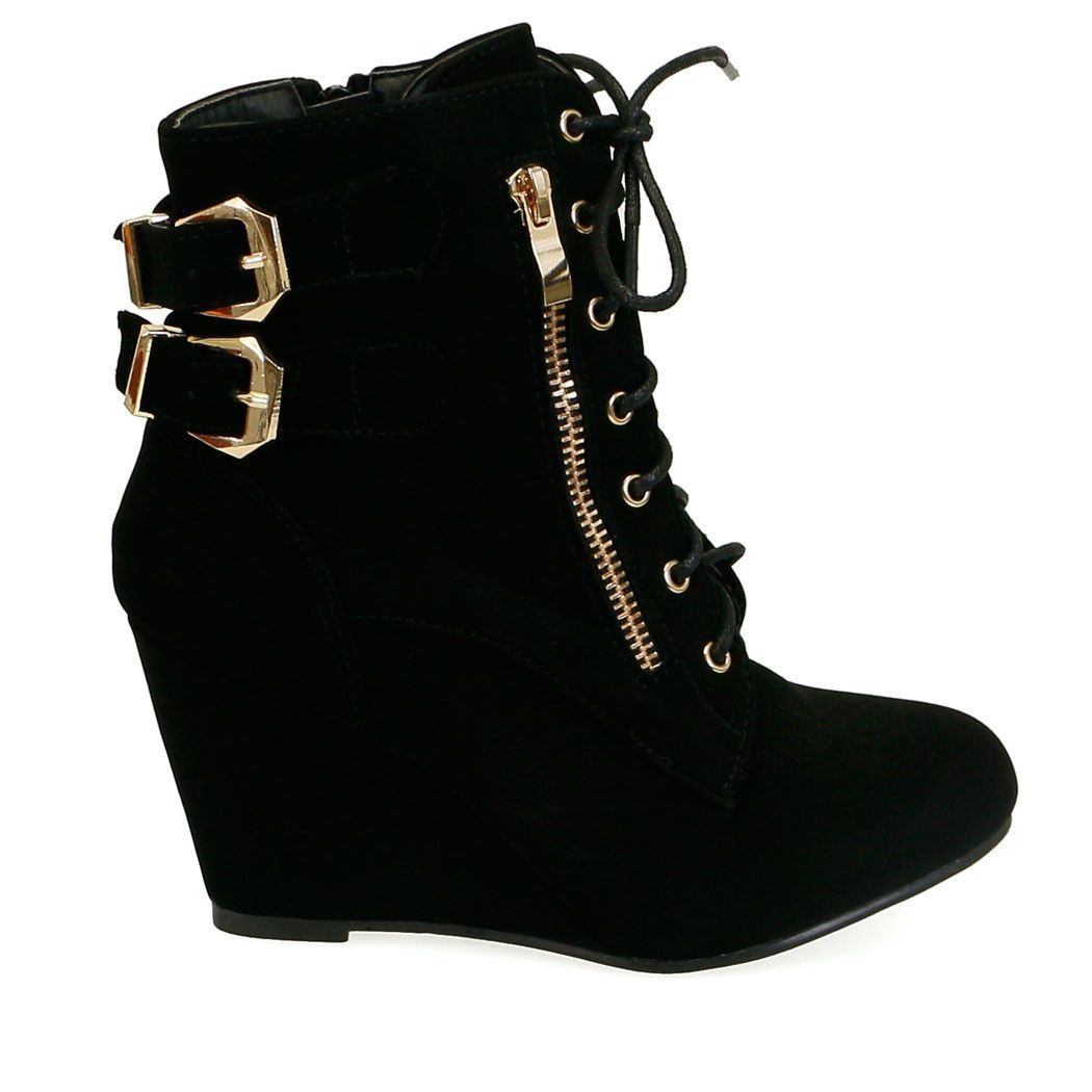 17749949aa9 Paola-72 Black Gold Buckle Detail Wedge Sneakers Gold Wedge Shoes