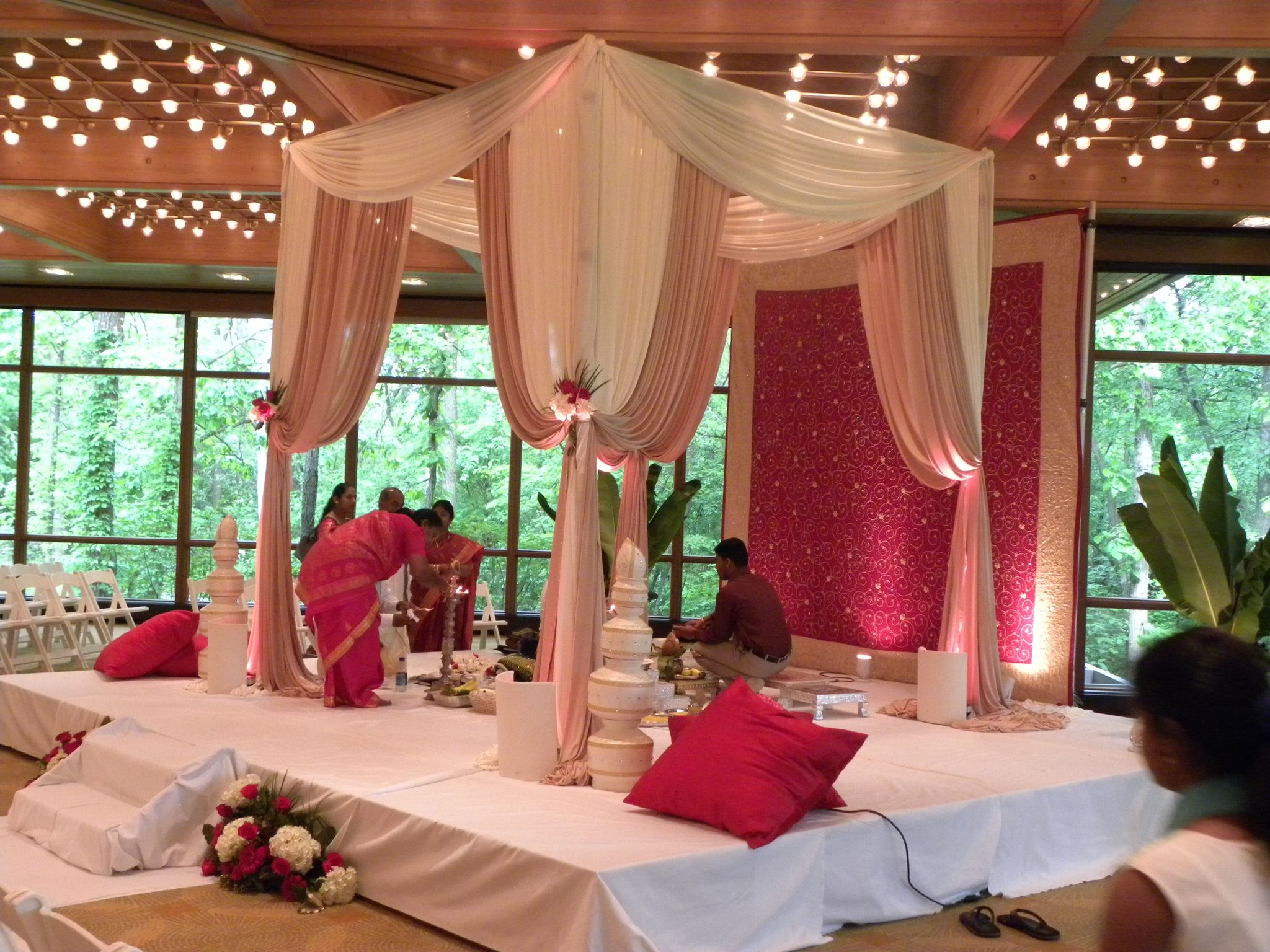 Wedding stage simple decoration images  Ivory and champagne fabric work so well together and the hint of red