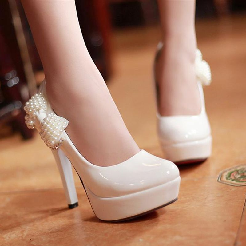 2012 Elegantwomen bow platform high-heeled stiletto pump shoes rhinestone beaded princess shoes Ivory pearl bridal wedding shoes on AliExpress.com. $23.00