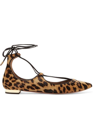 586468168b74 Aquazzura leopard-print calf hair flat ties at the ankle. Heel measures  approximately 10mm/ 0.5 inches.