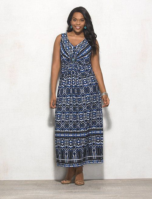 55031af114f08 Plus Size Medallion Print Maxi Dress