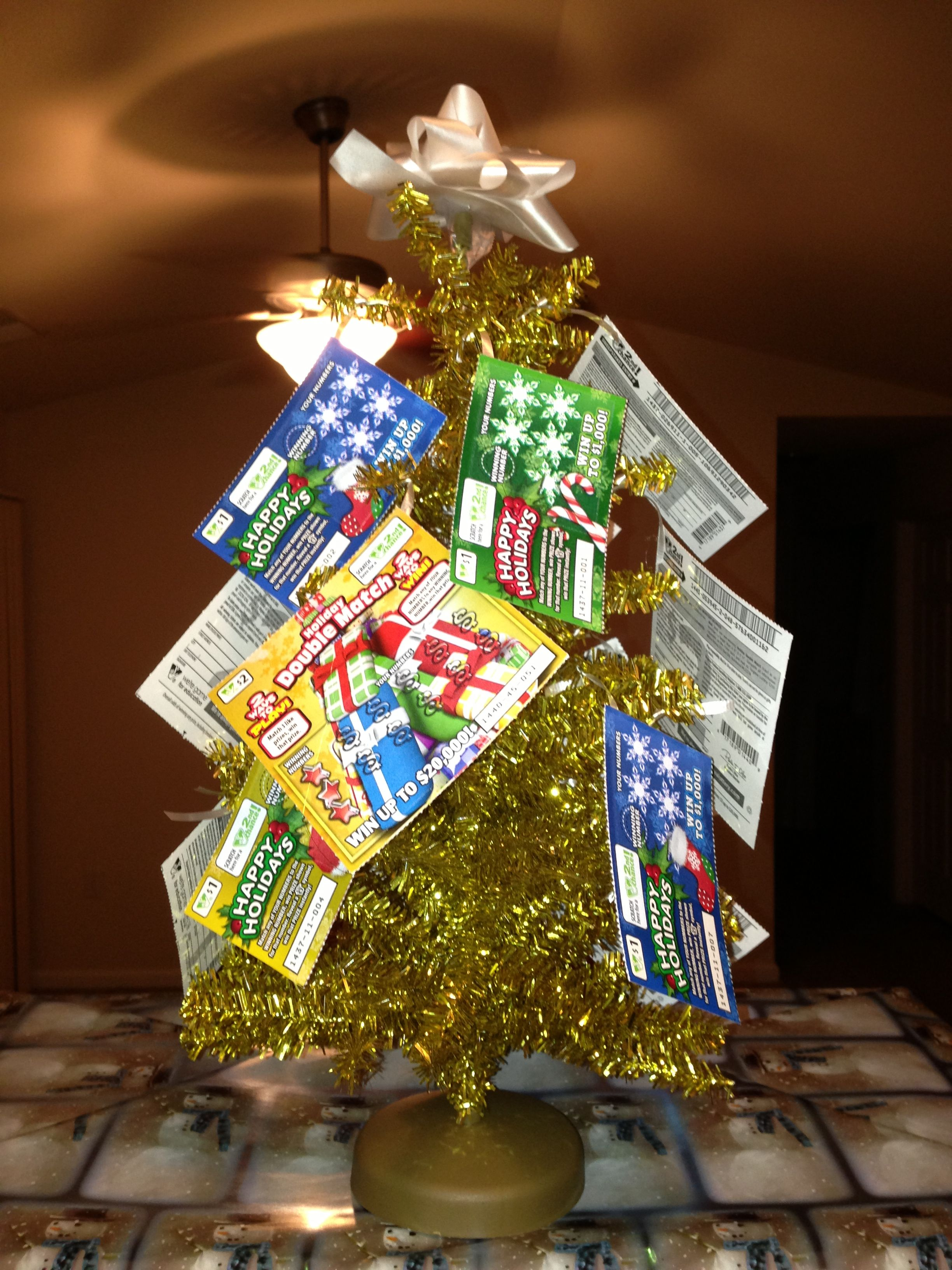 Dirty santa gift small tree with 20 worth of lottery