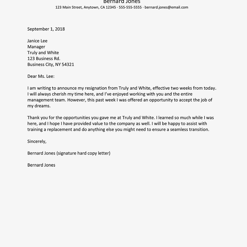 Resignation Letter Example With Advance Notice In 2020
