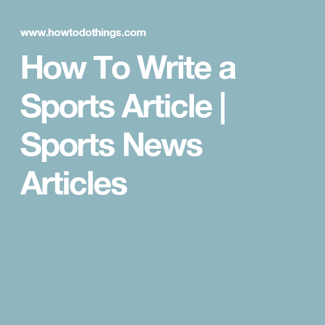 a good sports article