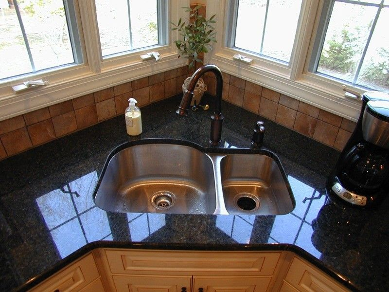 pictures and plans for corner sinks in kitchens - shiny black