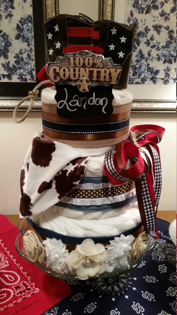 3 Three Tier Baby Diaper Cakes and 6 minis Cowboy Western Shower Centerpieces
