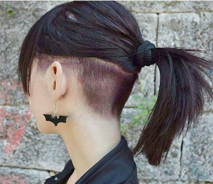 Undercut Ponytail Brunette Hair Styles