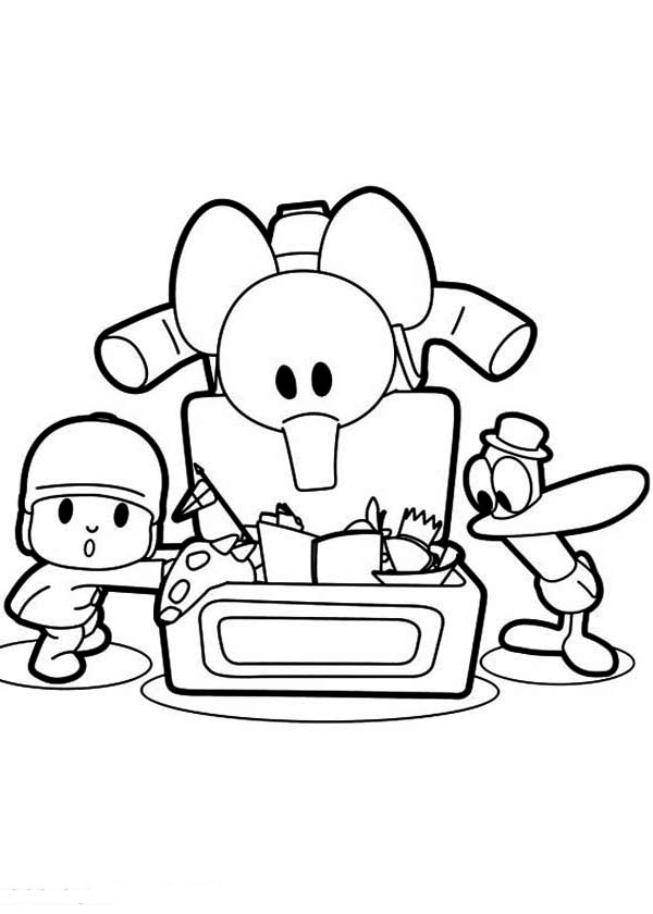 Pocoyo Pato And Elly Found A Lot Of Toys Coloring Page ...