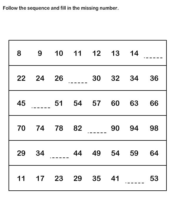 Number Sequence Worksheetsmath Worksheets Kindergarten Worksheets  Number Sequence Worksheetsmath Worksheets Kindergarten Worksheets