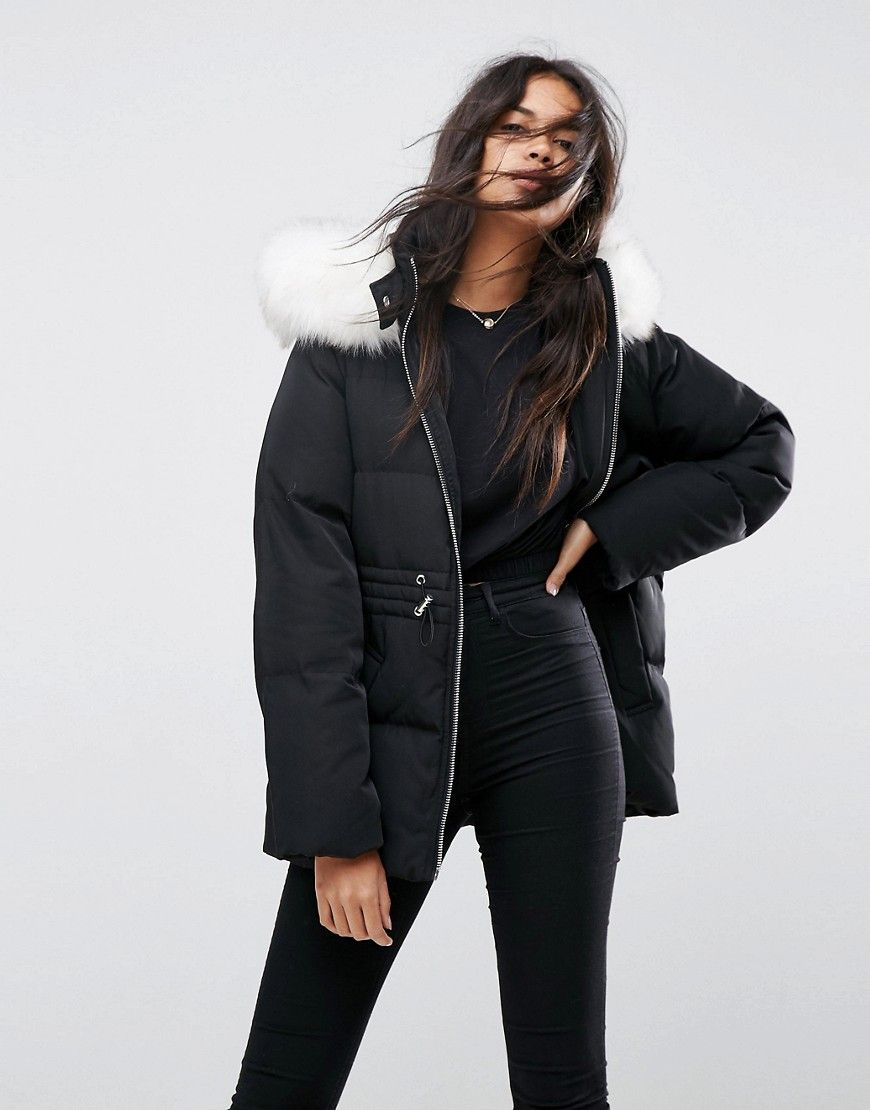 Asos Puffer Jacket With Tie Waist And Faux Fur Hood Black Latest Fashion Clothes Coats For Women Long Coat Women [ 1110 x 870 Pixel ]