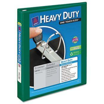 "Heavy-Duty View Binder W/locking 1-Touch Ezd Rings, 1"" Cap, Green"