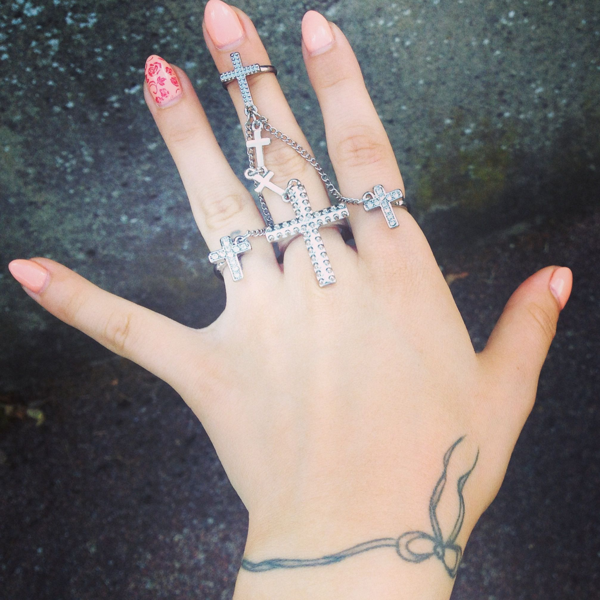 Two Nails Crossed Tattoo Meaning: #ring #cross #nails #bow #tattoo