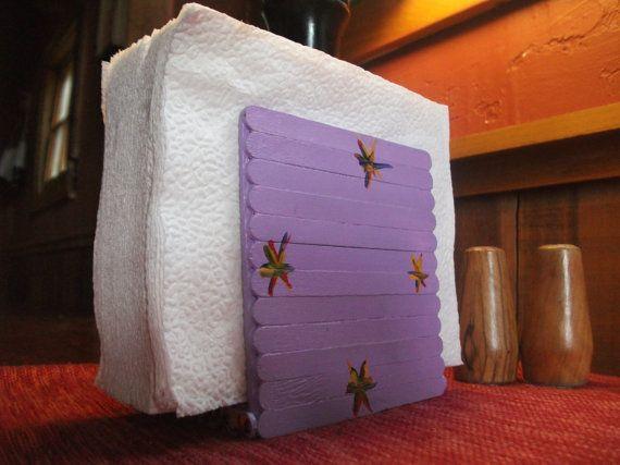 Purple Popsicle Stick Napkin Holder By Handkrafcustomclocks 1295
