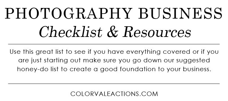 Checklist For Starting A Photography Business  Photography