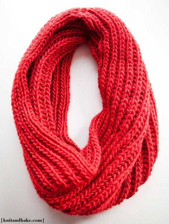 big red cowl knitting pattern (brioche stitch) by ...