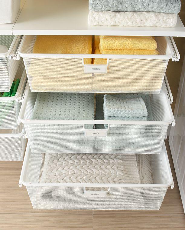 Elfa Custom Shelving Systems, Wall Units U0026 Storage Systems. Linen Closet ...