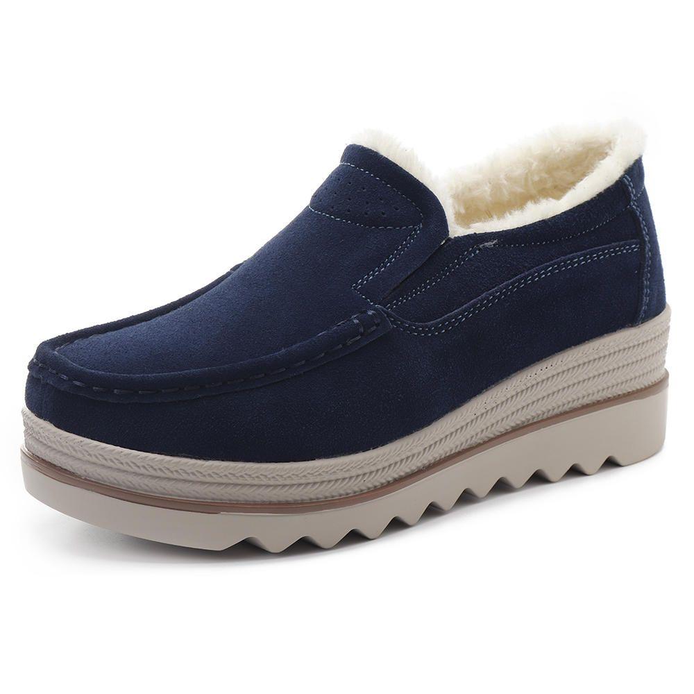Suede Platforms Casual Comfy Fur Lining Round Toe Shoes #Suede #Toe #Lining #Fur #Shoes #Comfy #