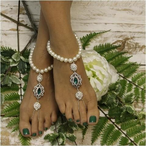EMERALD wedding barefoot sandals green ooak Barefoot