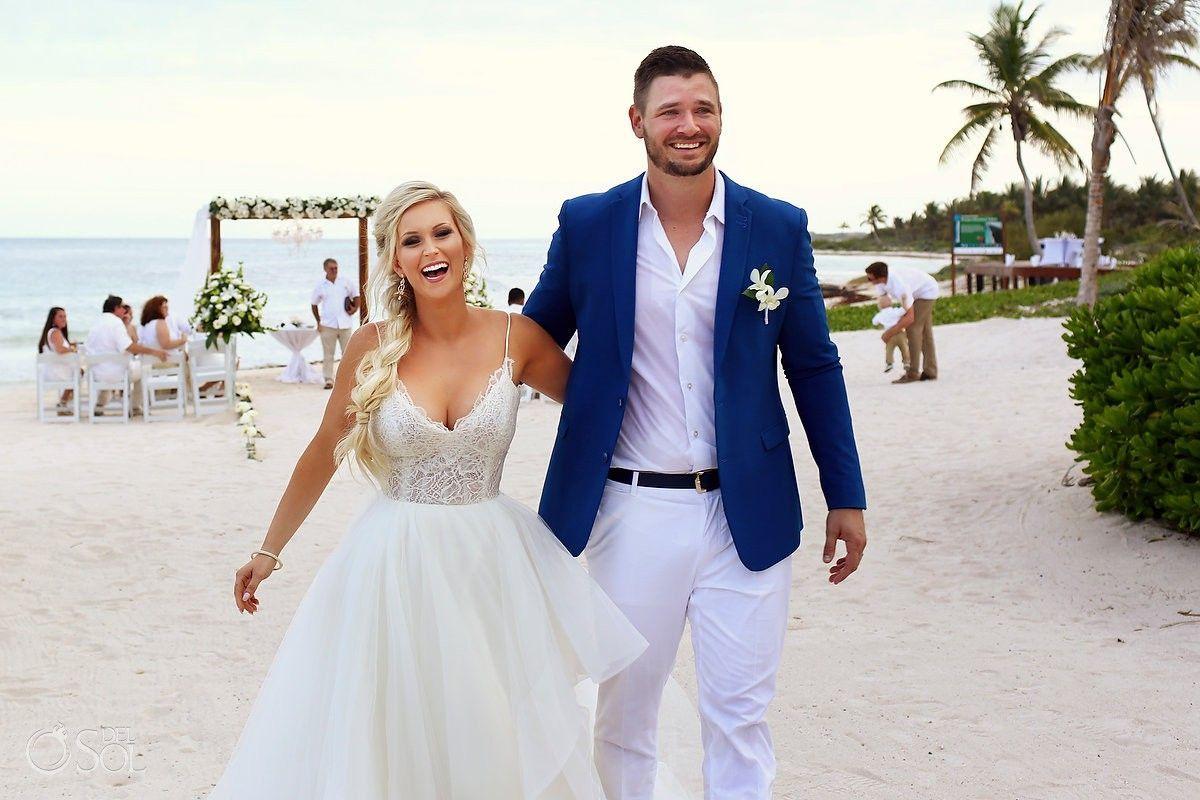 Blue Mens Suit Jacket With White Pants For Destination Wedding
