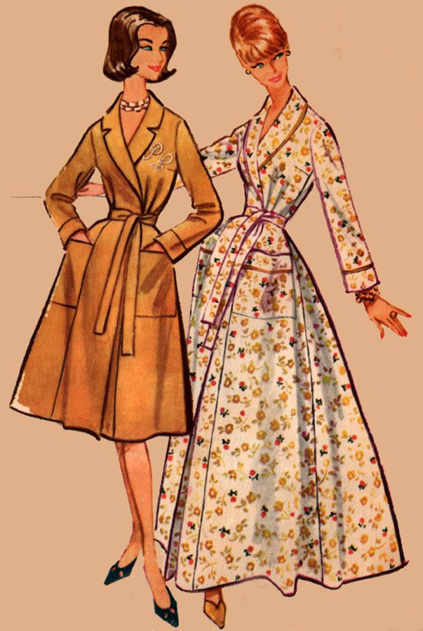 be4bfe6761 1950s Housecoat Wrap Around Bathrobe Robe in Two Lengths w  Transfer  Monogram 50s Vintage Sewing Pattern Size 12 Bust 32 UNCUT FF by sandritocat  on Etsy