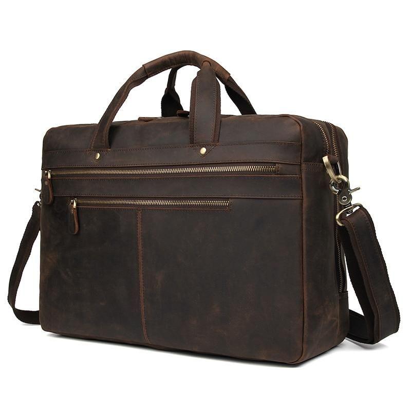 """Vintage Leather Briefcase 17/"""" Laptop Shoulder Bag For Men Travel Bag Handbag"""