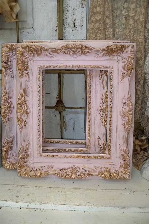 Shabby chic pink frames soft muted colors gold accent lightweight ...