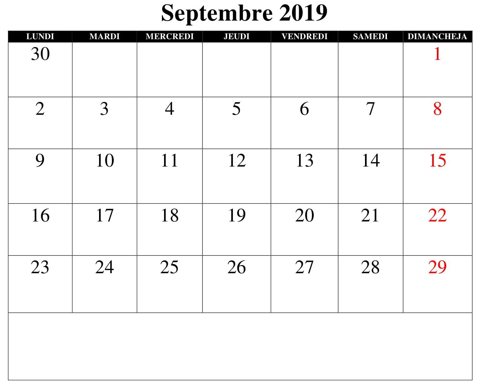 Calendrier Dans Excel.Septembre 2019 Calendrier Excel Periodic Table Words