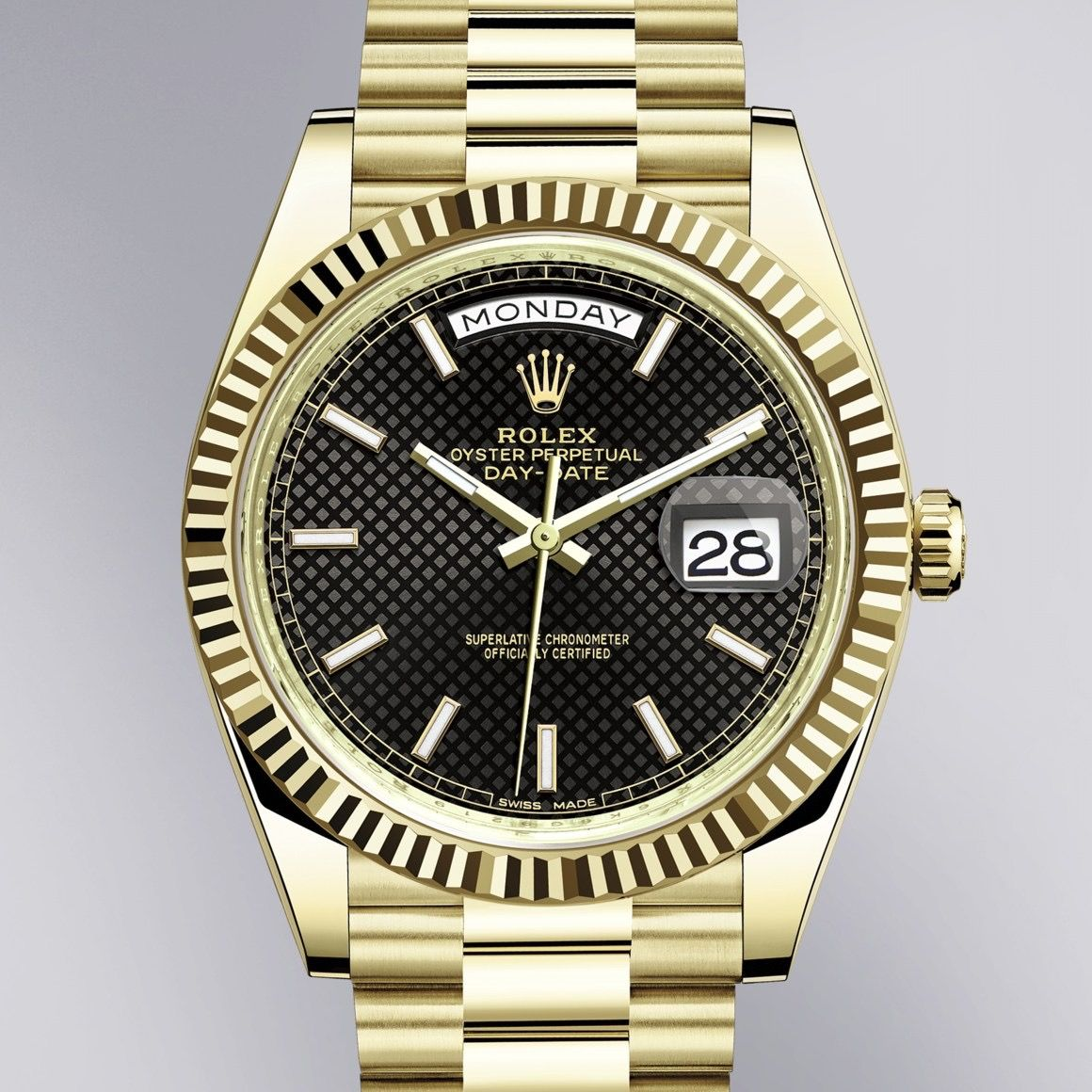 The Rolex Day Date 40 In Yellow Gold 40 Mm Case Black Diagonal Motif Dial President Bracelet The Presidents Watch Rolex Day Date Rolex Rolex Women
