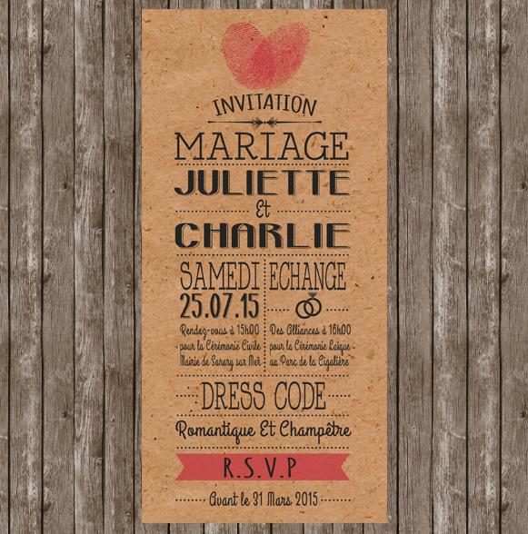 Invitation mariage papier kraft