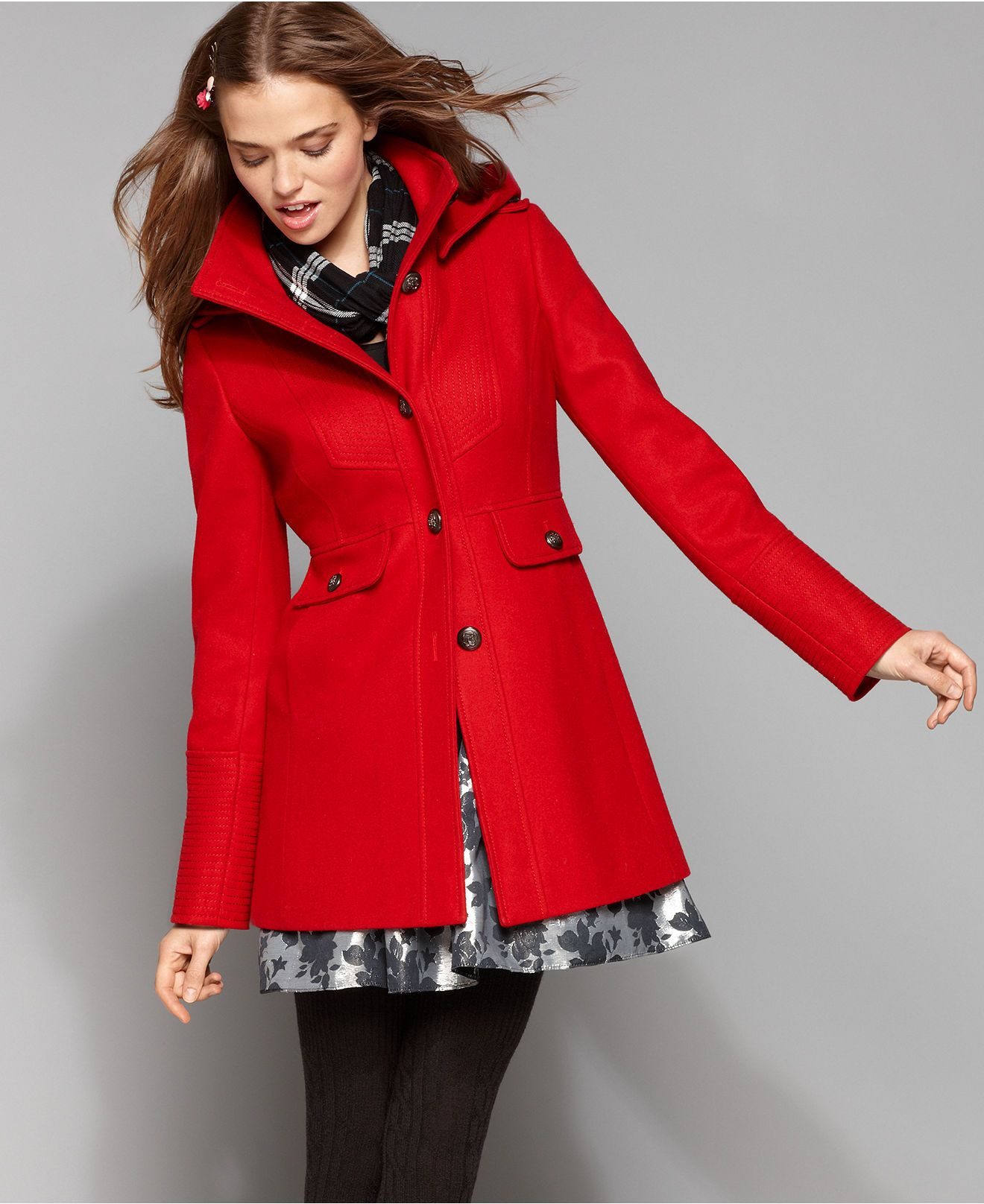 Guess Coat Hooded Topstitched Wool Blend Red Wool Coat Wool Blend Coat Coats For Women [ 1616 x 1320 Pixel ]