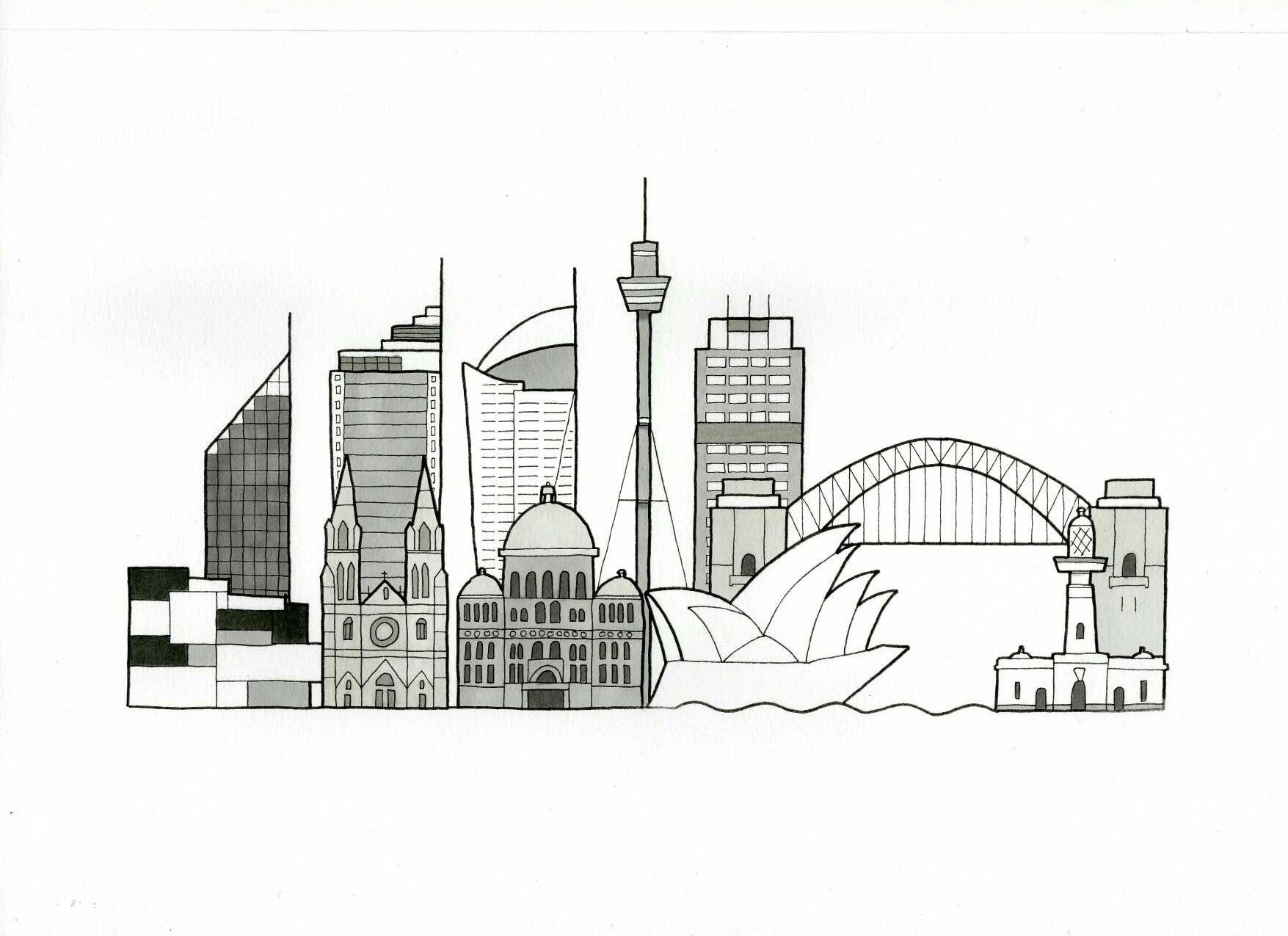Sydney Cityscape Skyline Bespoke Art Drawing Skyline City Sydney Cityscape Skyline Drawing Sydney Skyline Cityscape Drawing