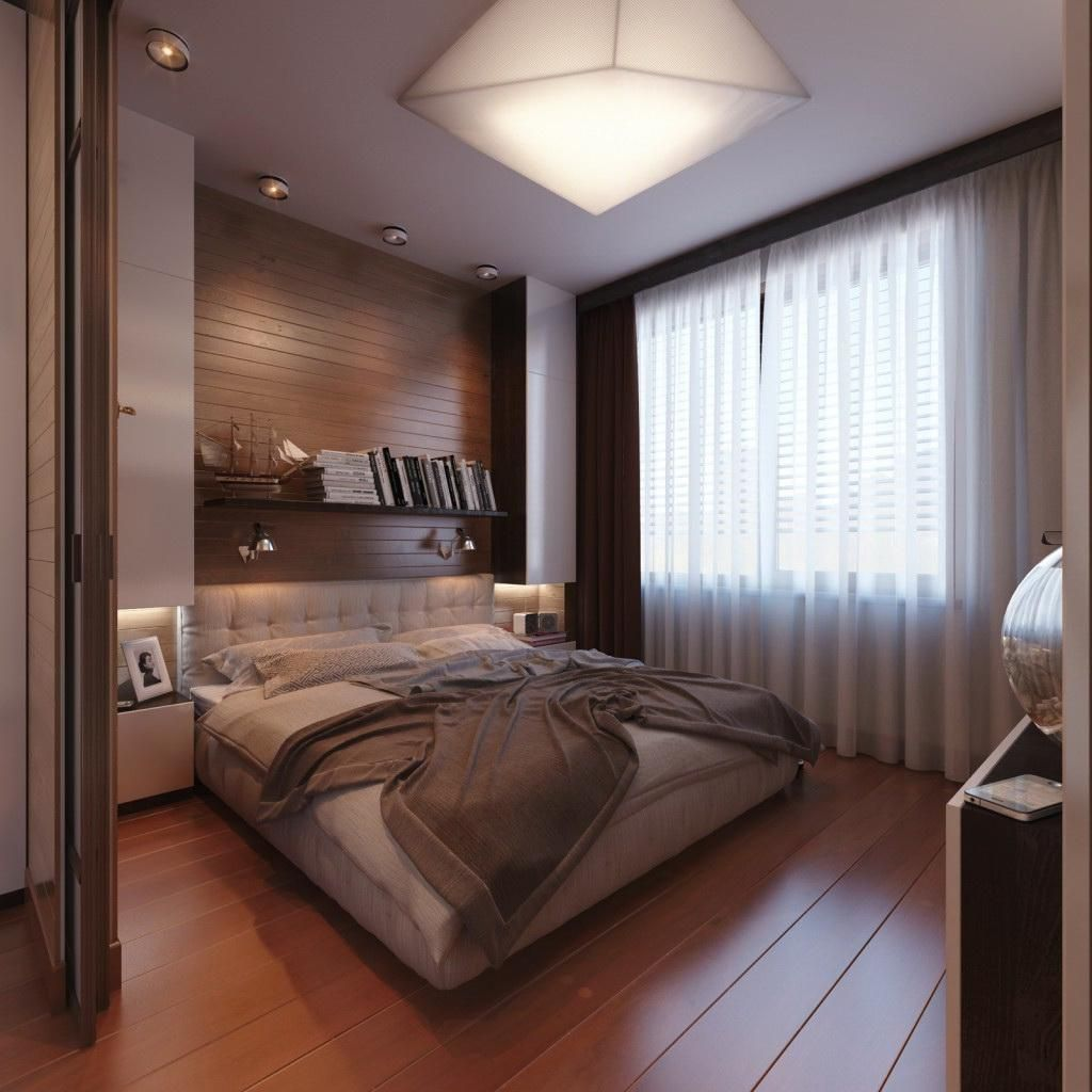 Modern Bedroom Design For Men In Wooden Floor And A Cozy Bed Also Stylish Hanging Lamps Decorating Bed Modern Bedroom Decor Modern Bedroom Small Modern Bedroom