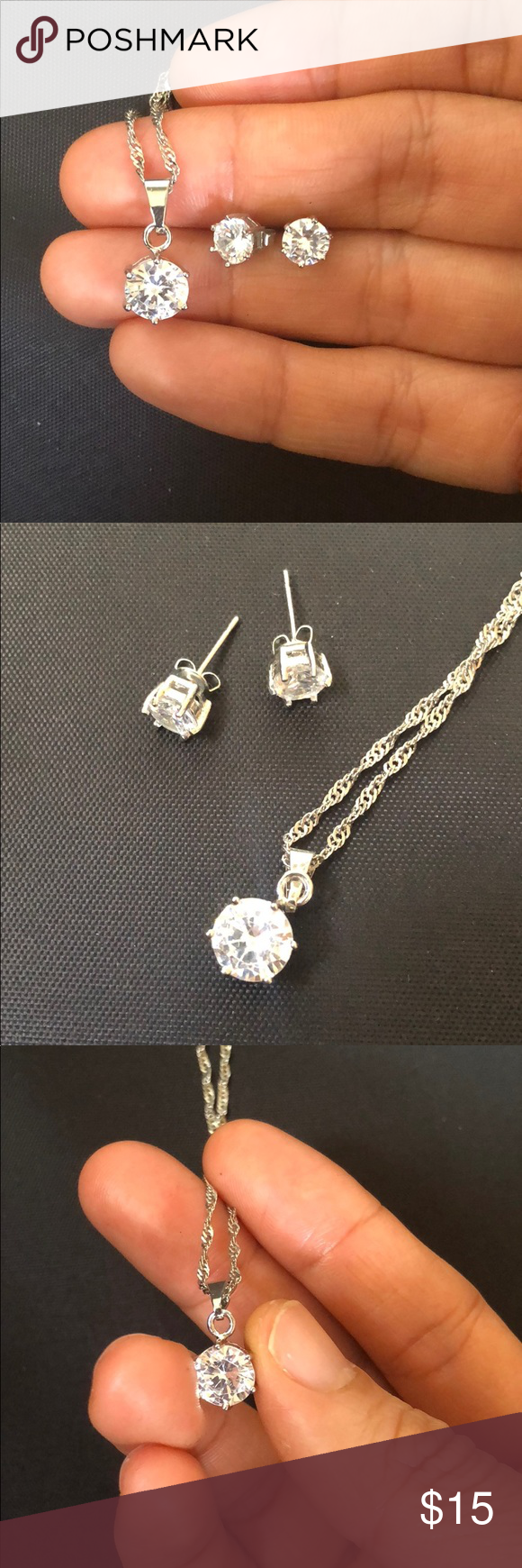 Set of necklace cz pendant and stud earrings in my posh