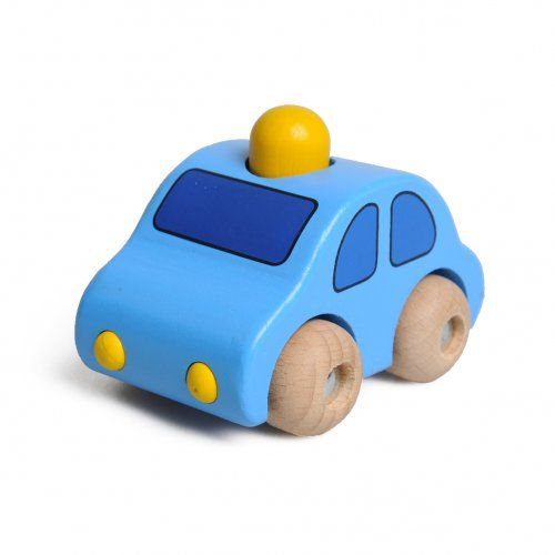 Auto met claxon, lichtblauw, beukenhout