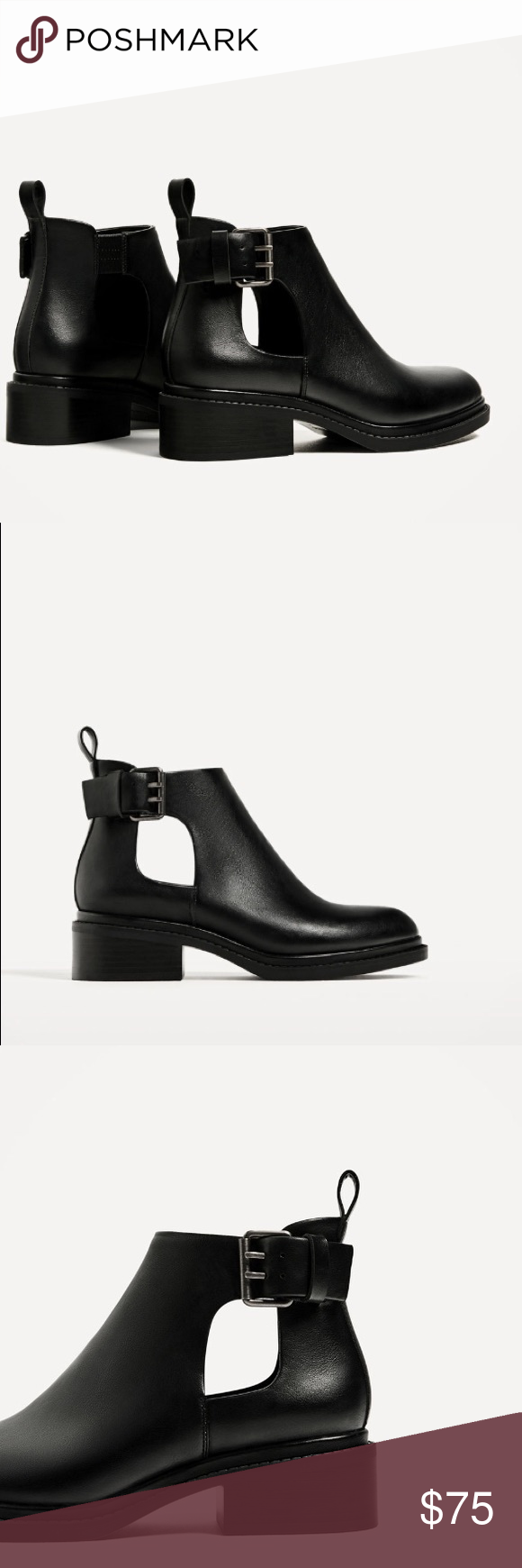 70642902592cd ZARA OPEN CUT ANKLE BOOTS W/ BUCKLE BRAND NEW ZARA OPEN CUT ANKLE BOOTS W/ BUCKLE  BRAND NEW Zara Shoes Ankle Boots & Booties