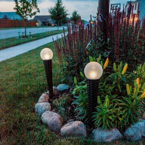 Beau Solar Orb Lights With Wicker Garden Stakes, Set Of 2