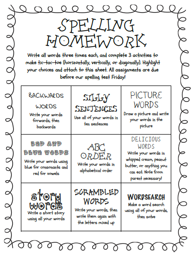 Spelling Choice Board  Spelling Tic Tac Toe Template  Choice