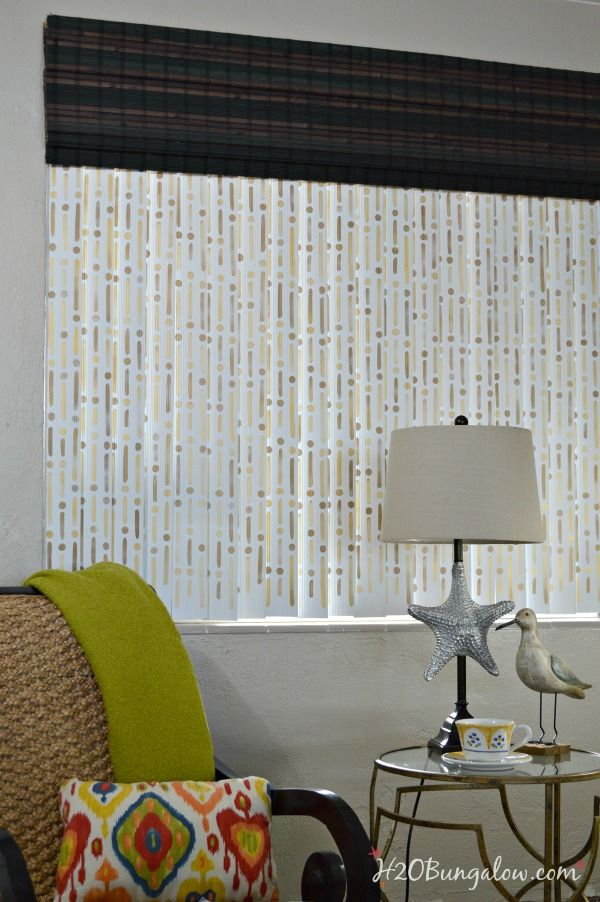 How to update vertical blinds with stencils stenciling for Living room update ideas