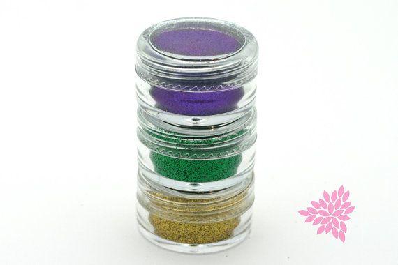 3pc Cake Glitter  Gold Purple & Green  Mardi by WickedCoolCakes