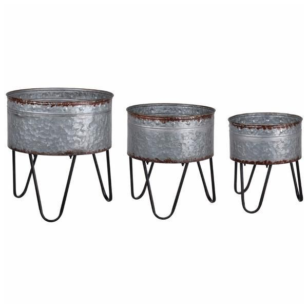Set Of 3 Acoma Galvanized Metal Tubs