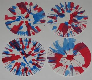 4th of July Fireworks spin art
