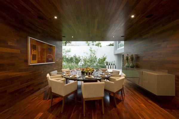 I love the wood in this dining room
