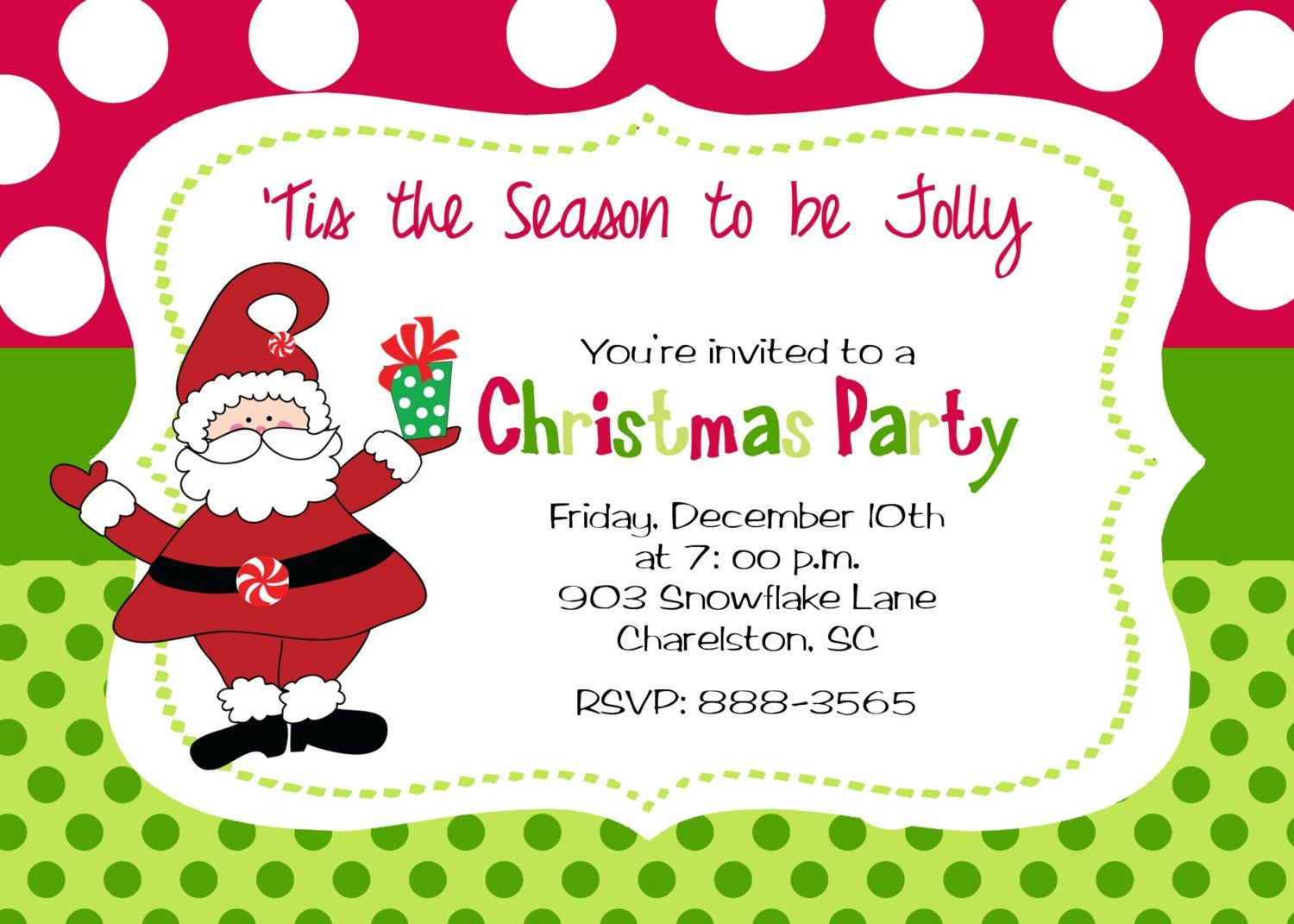 Christmas Party Invitation By Stickerchic On Etsy – Invitations to Christmas Party