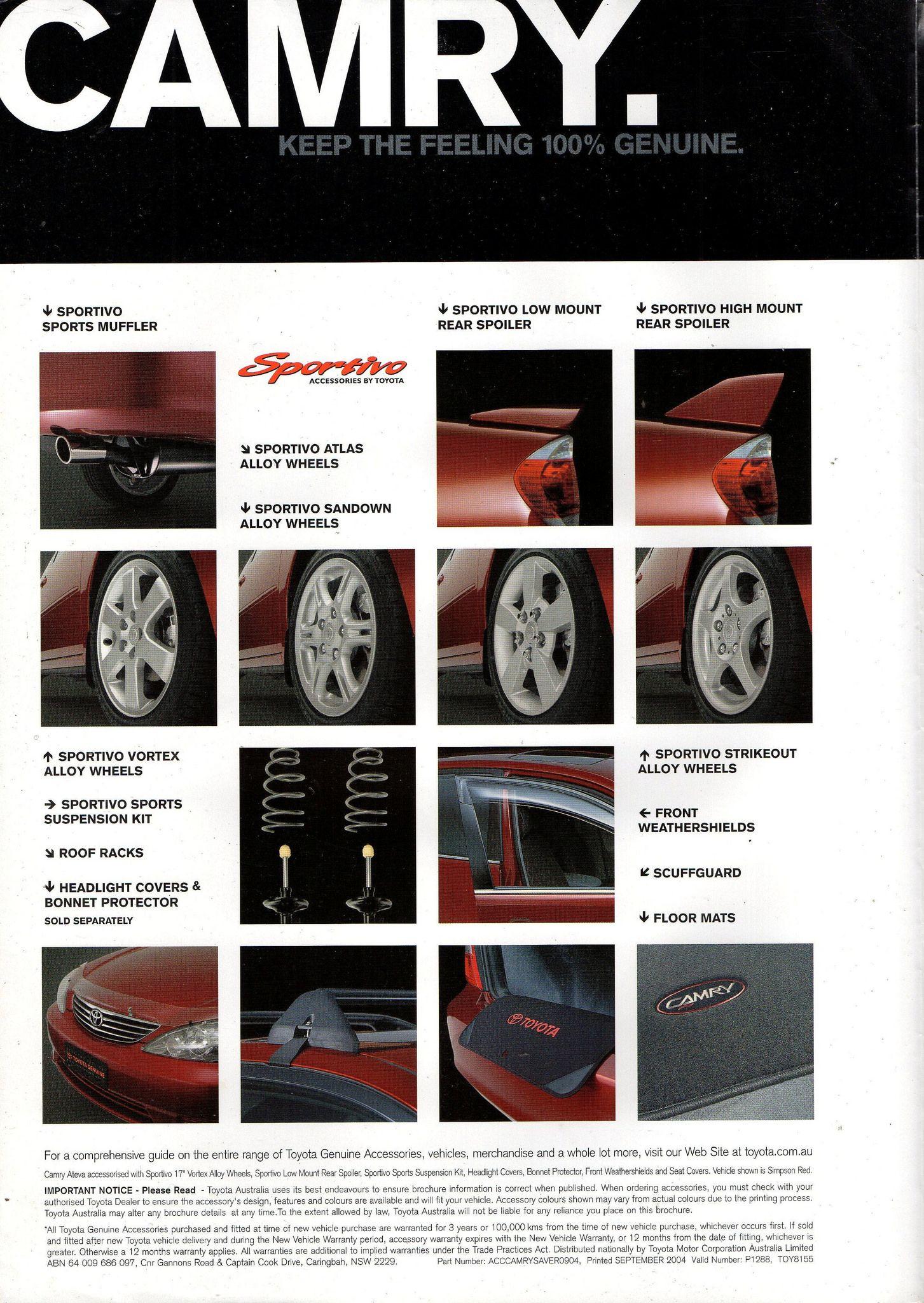 2004 Toyota Camry Genuine Accessories Australian Brochure Page 2 Camry Toyota Camry Toyota