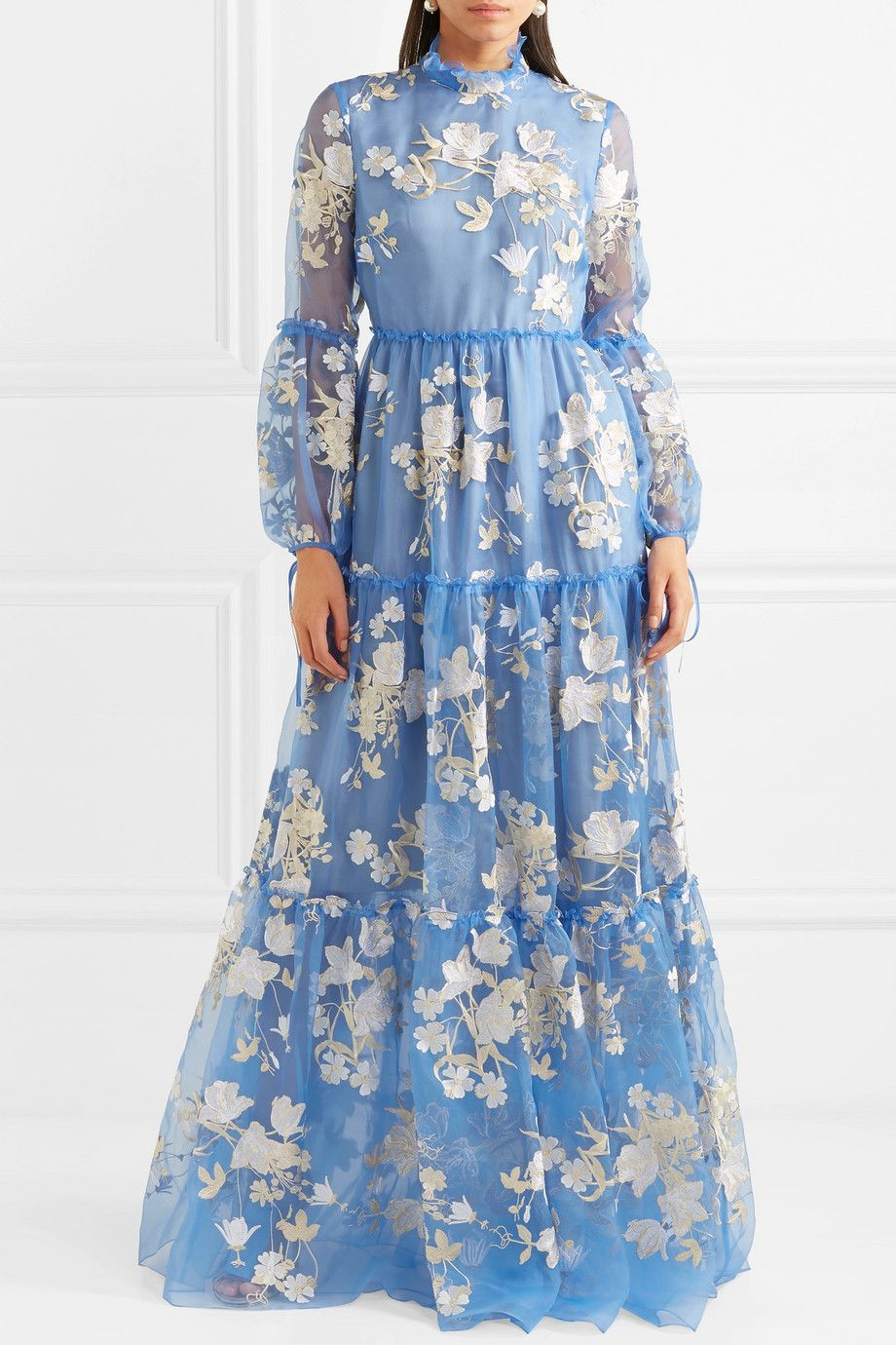 Cassandra Ruffled Embroidered Silk-organza Gown - Light blue Erdem Outlet Latest Collections 100% Guaranteed Cheap Price Cost Official Site OGsPT