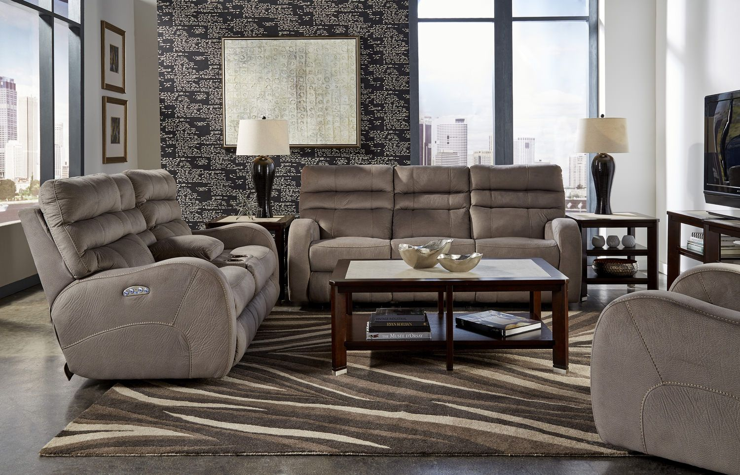 2 For The Basement Media Room Selkey Lay Flat Power Recline  ~ Payton Power Reclining Sofa