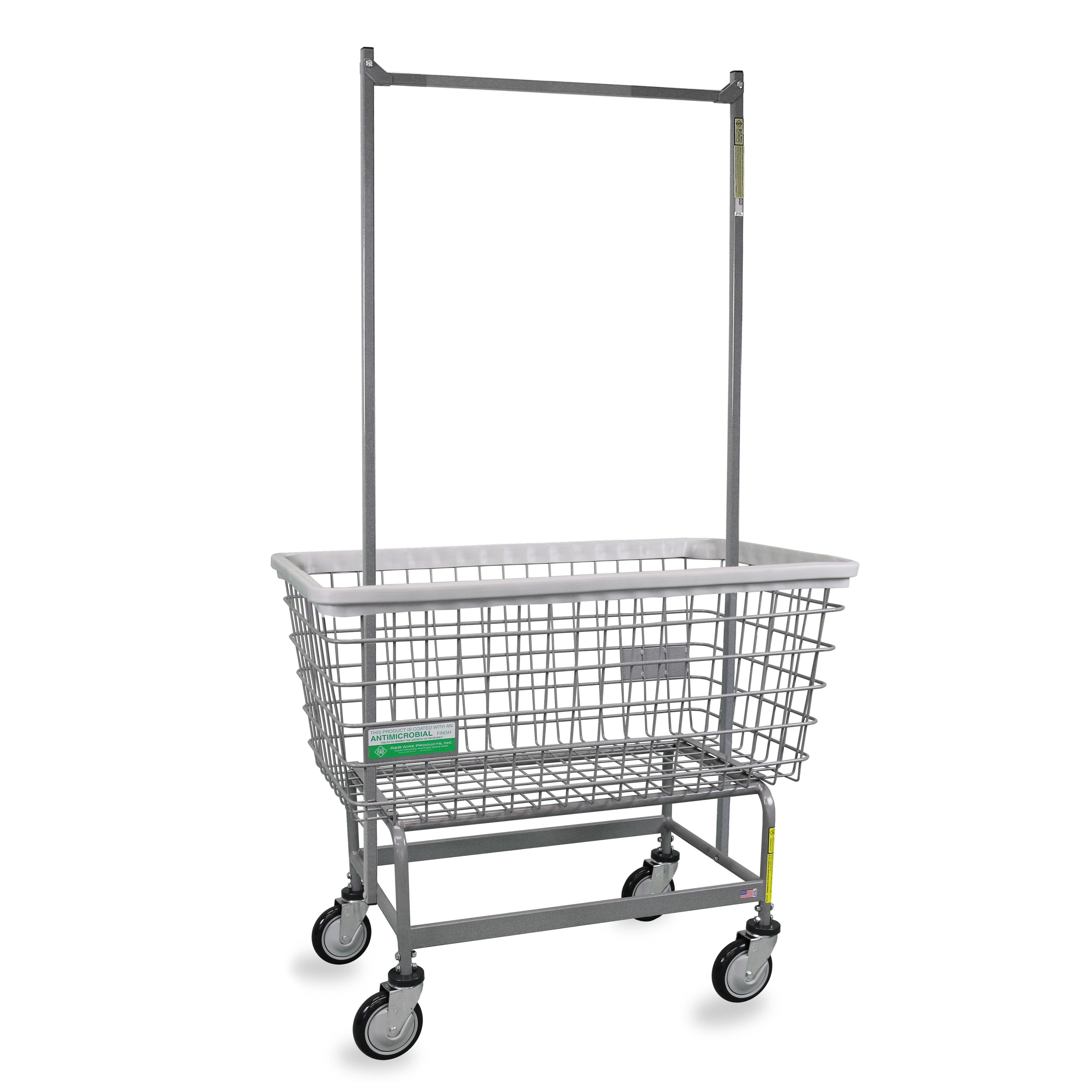 6 Bushel Mega Capacity Laundry Cart W Double Pole Rack Big Dog